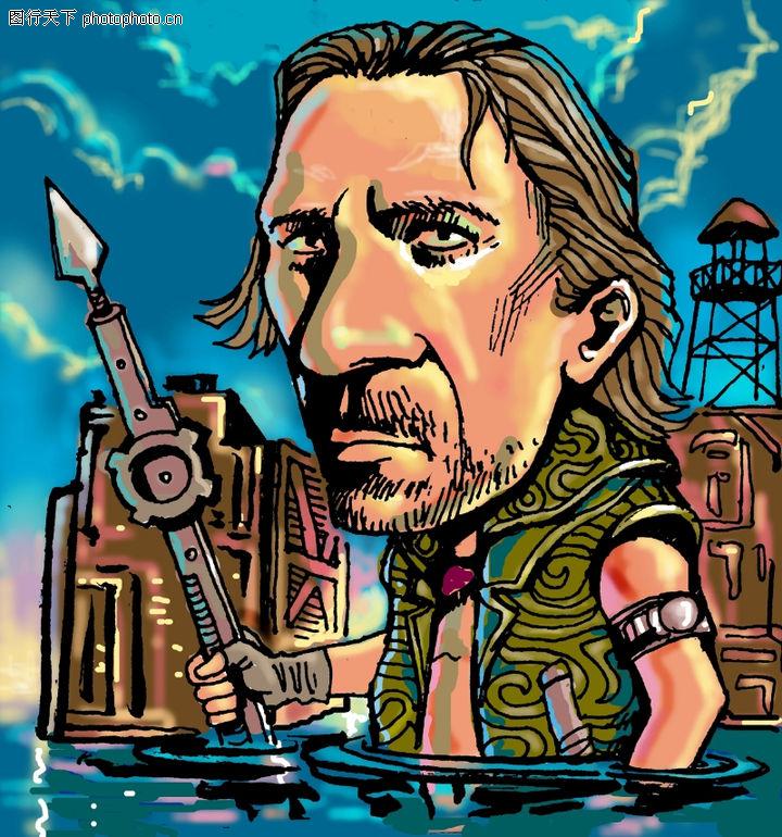趣味插画,标题插画,手握 标枪 涉水,趣味插画0076