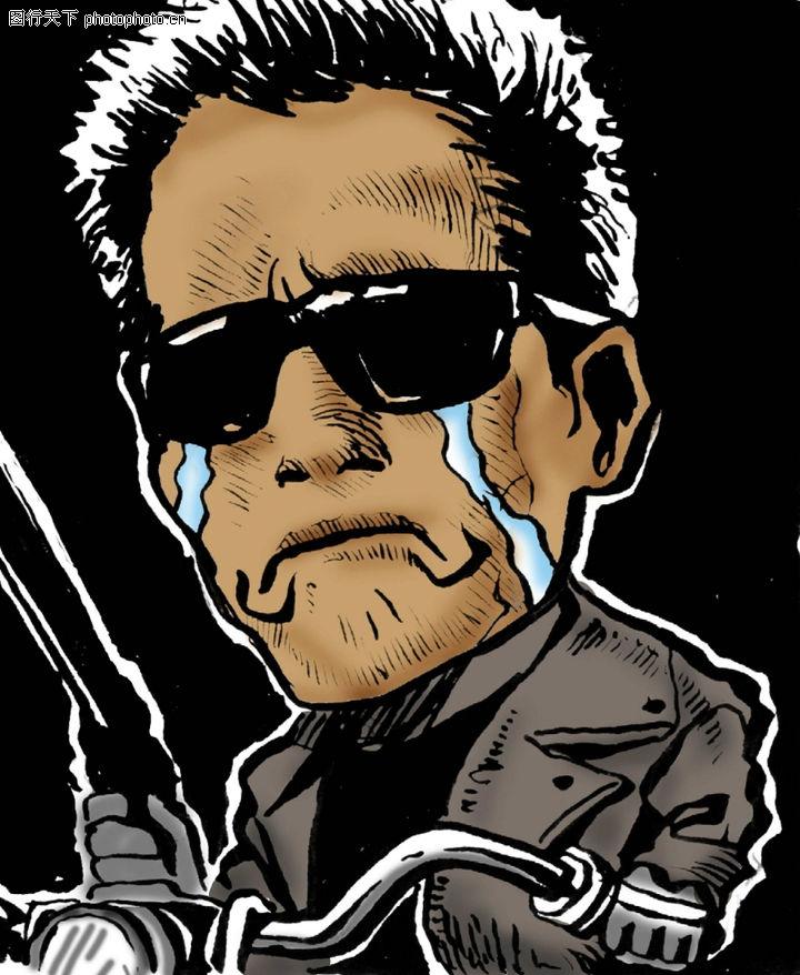 趣味插画,标题插画,哭泣 黑道 老大,趣味插画0078