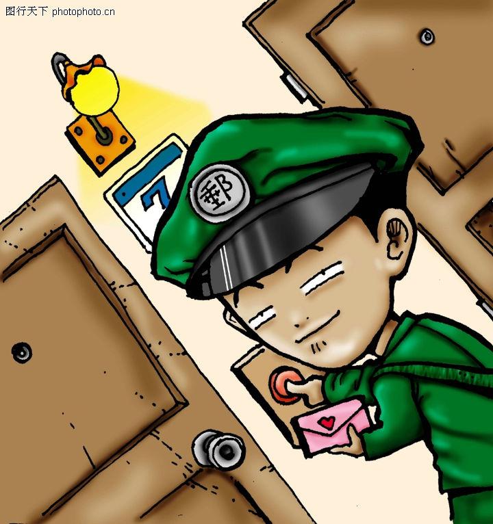 趣味插画,标题插画,警察 人物 形象 ,趣味插画0084