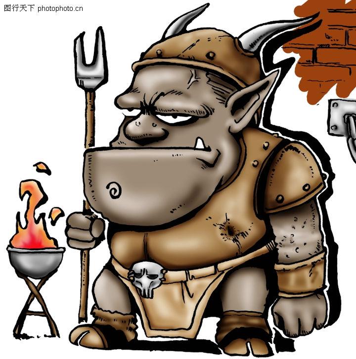 趣味插画,标题插画,凶猛 刀枪 工具,趣味插画0087