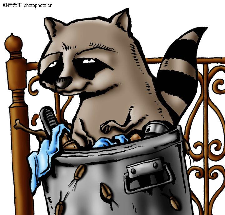 趣味插画,标题插画,浣熊 栏杆 插画,趣味插画0098