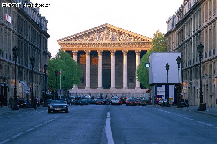 法国巴黎 旅游风光 马路 交通工具