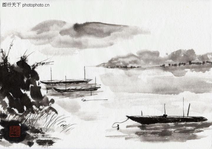 古代风景,中华文化,云雾 萦绕 湖面,古代风景0004