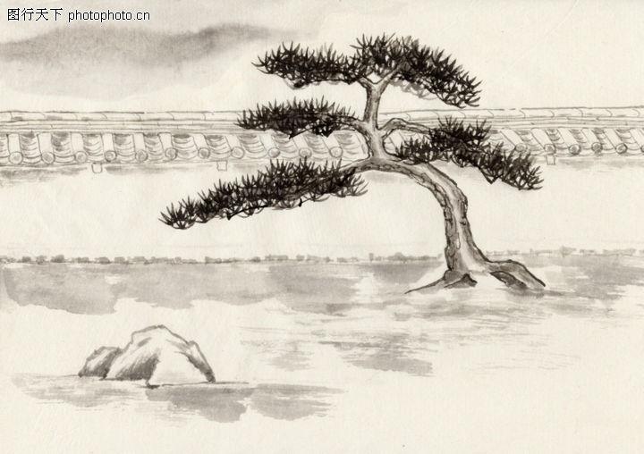 古代风景,中华文化,弯松 独立 寒冬,古代风景0008