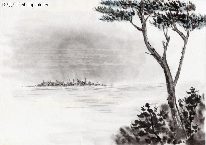 古代风景,中华文化,小树 小草 景色,古代风景0035