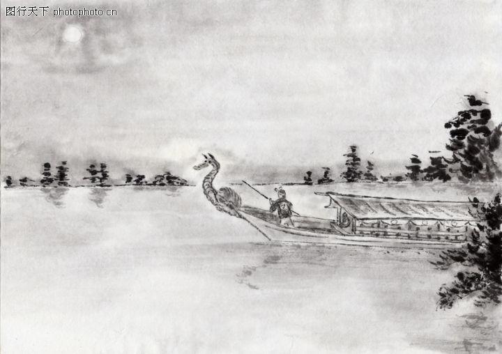 古代风景,中华文化,河流 船只 自然,古代风景0040