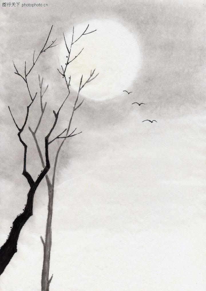 古代风景,中华文化,月亮 几只鸟,古代风景0043