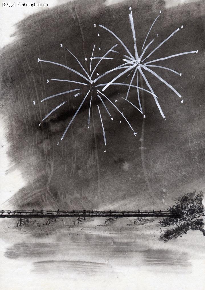古代风景,中华文化,木桥 夜晚 烟火,古代风景0062