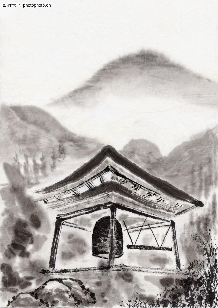 古代风景,中华文化,山峰 大钟 亭子,古代风景0064