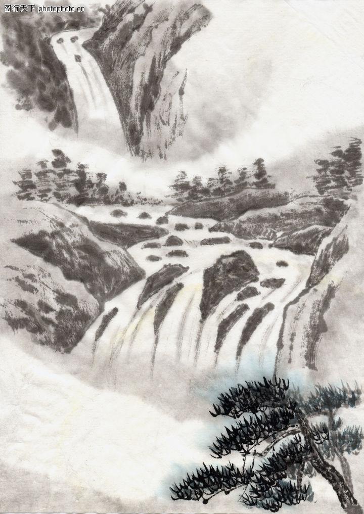 古代风景,中华文化,山体 清泉 松树,古代风景0070