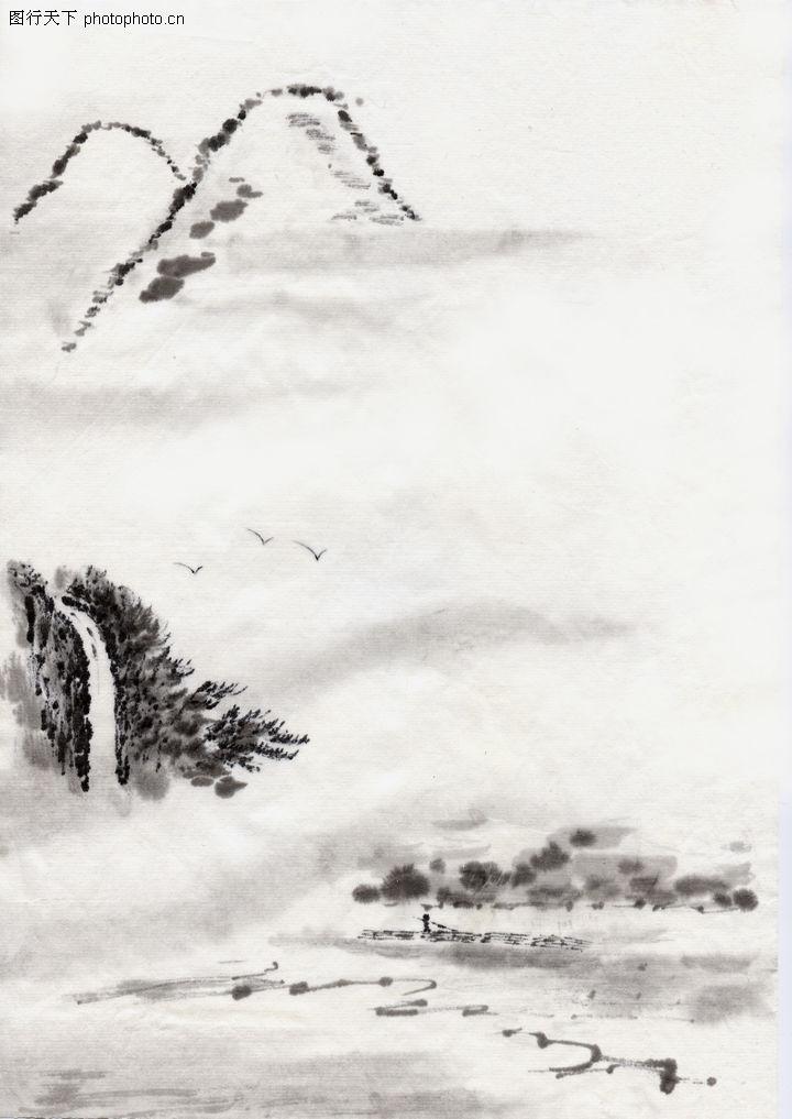 古代风景,中华文化,远山 迷雾 瀑布,古代风景0076