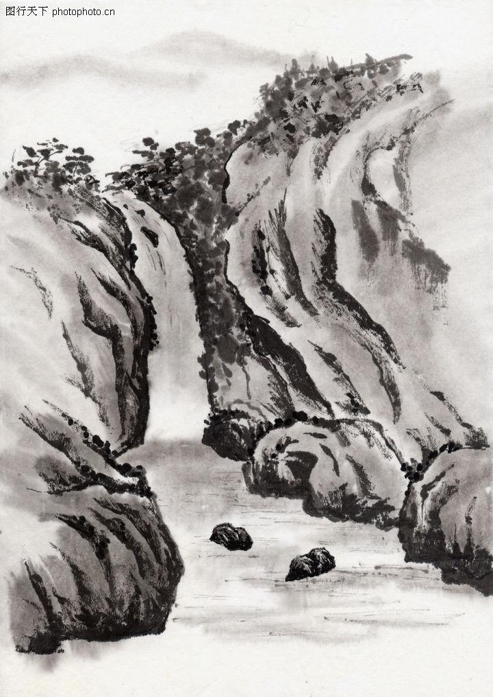 古代风景,中华文化,石涧 小河 水流,古代风景0080