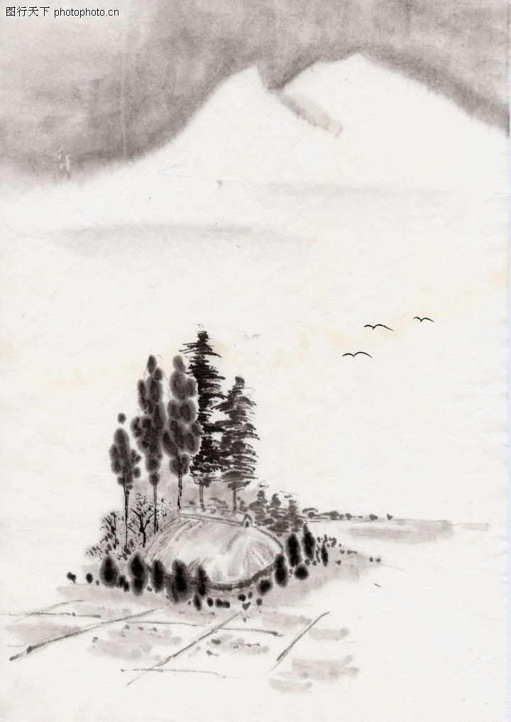 古代风景,中华文化,素色 素描 风景,古代风景0086