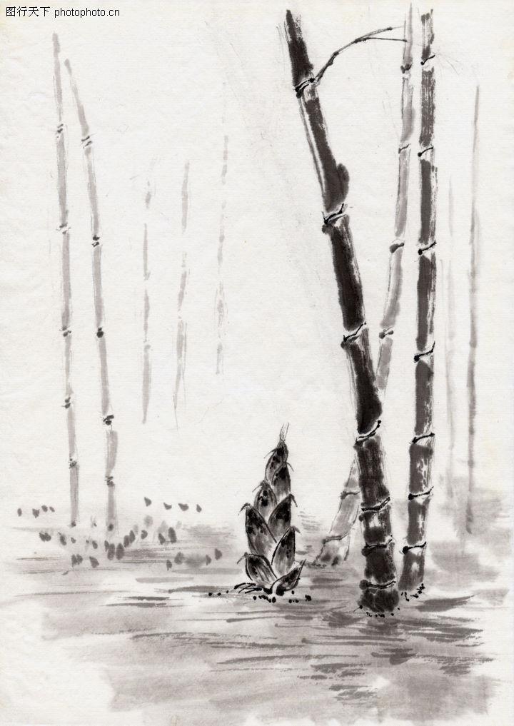 古代风景,中华文化,农村 竹子 发芽,古代风景0088