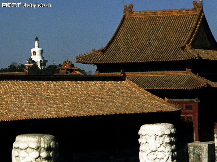 古代建筑 中华图片 金黄色屋面 花纹柱 尖屋檐