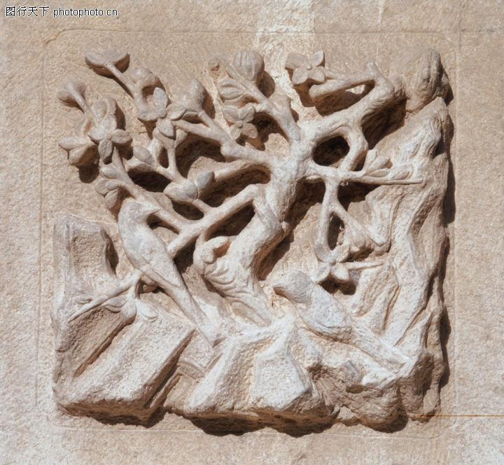 花纹墙饰,纹饰雕塑,墙壁 树枝 图纹,花纹墙饰0067