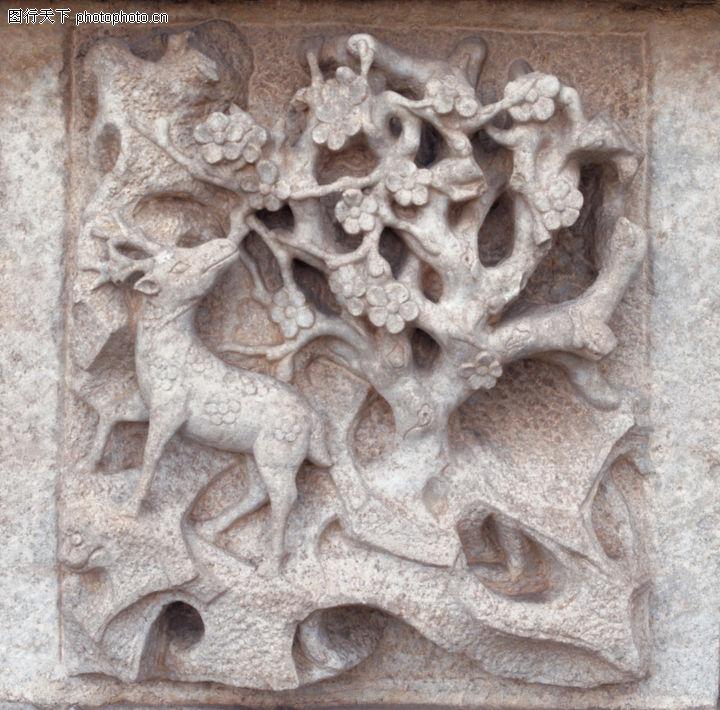 花纹墙饰,纹饰雕塑,浮雕 野鹿 回头,花纹墙饰0072