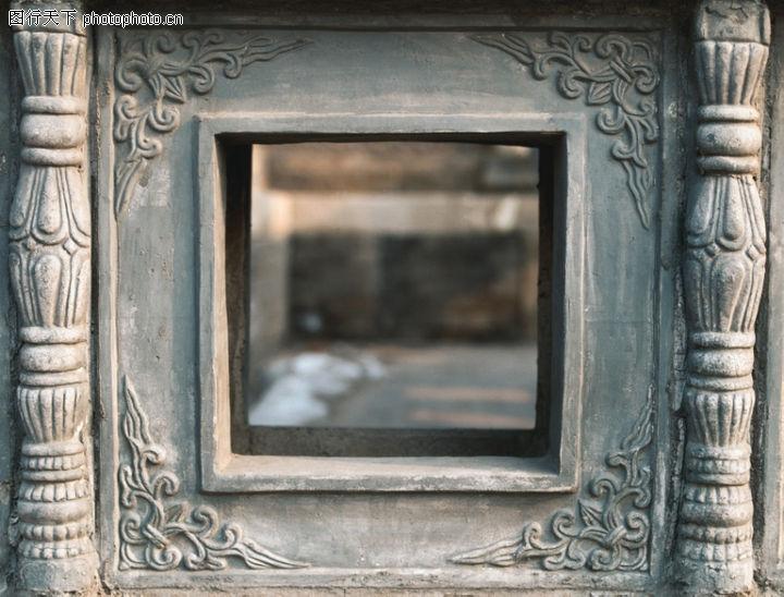 花纹墙饰,纹饰雕塑,墙洞 方形 观望,花纹墙饰0099