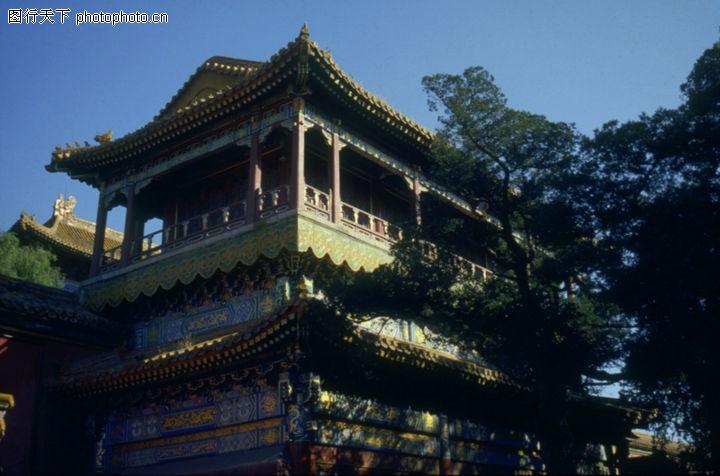 故宫内宫,古代名胜,阁楼 风景 树枝,故宫内宫0094