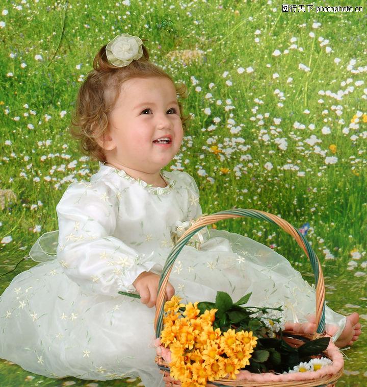 可爱的宝宝,儿童,花丛
