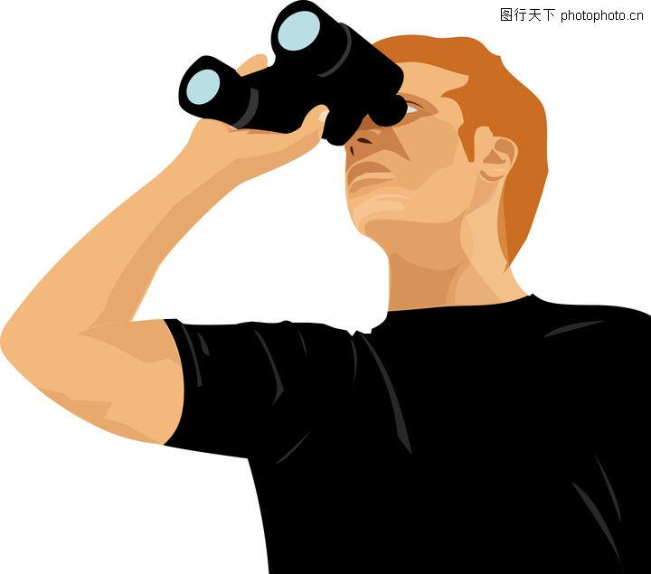 人物休闲 卡通人物 男子 望远镜 天文