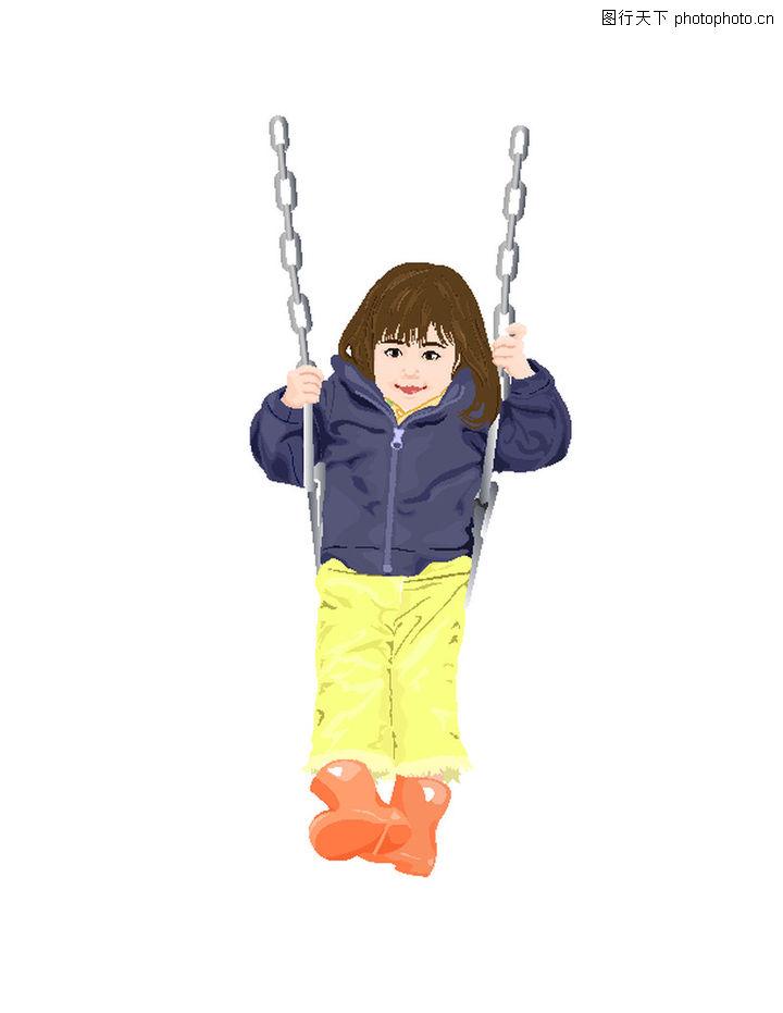 休闲运动,卡通人物,雨靴 穿雨靴小女孩 秋千 荡秋千女孩 微笑小女孩图片