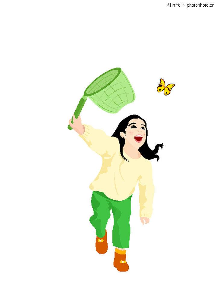 休闲运动 卡通人物 女童 捕蝶 蝴蝶 奔跑女孩 快乐图片