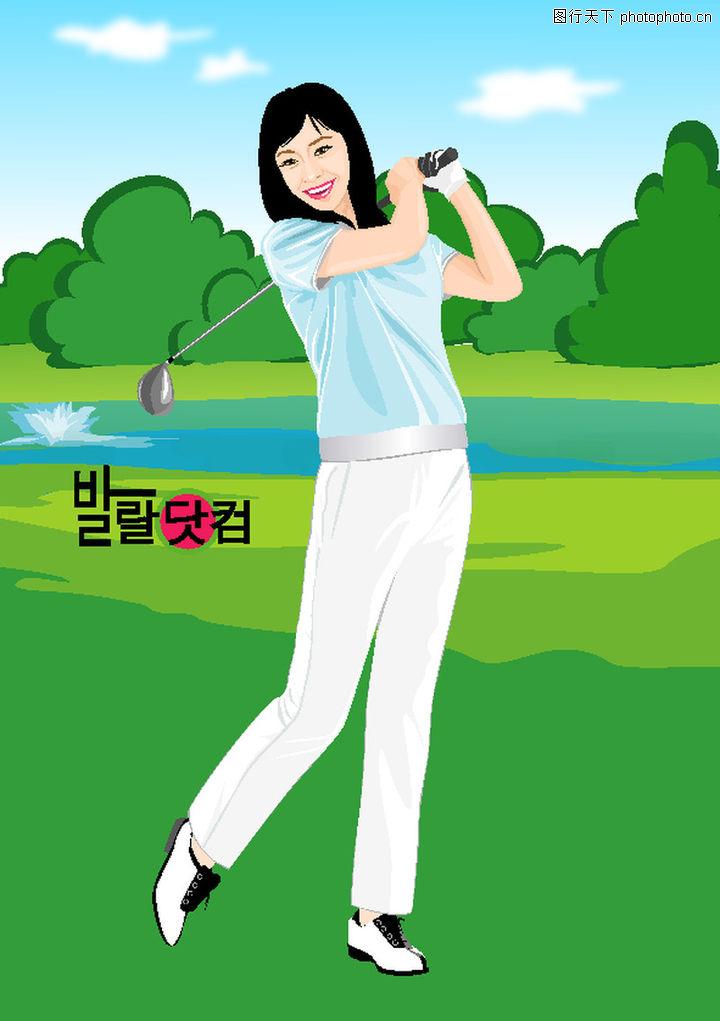休闲运动,卡通人物,高尔夫球杆