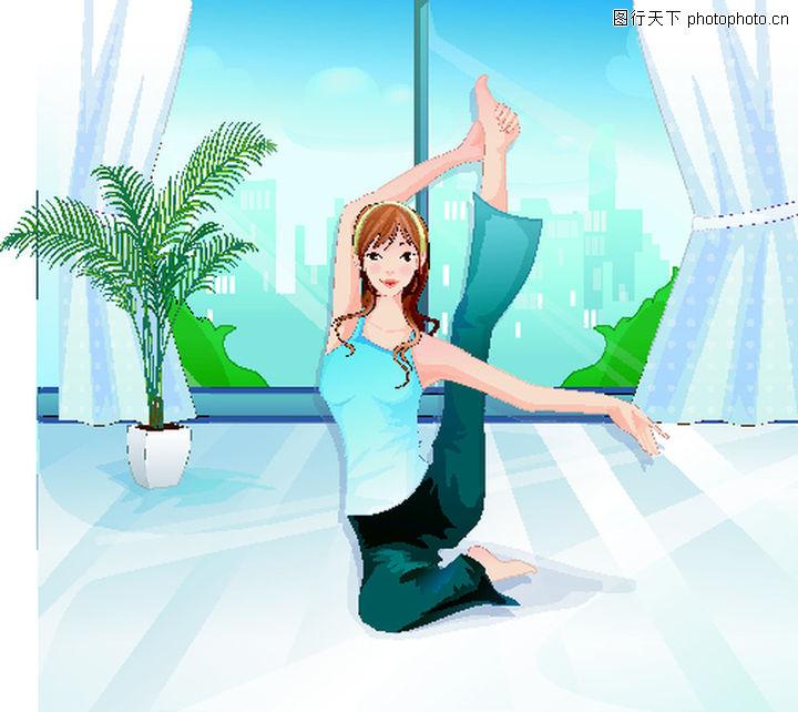健身,卡通人物,活力 体操