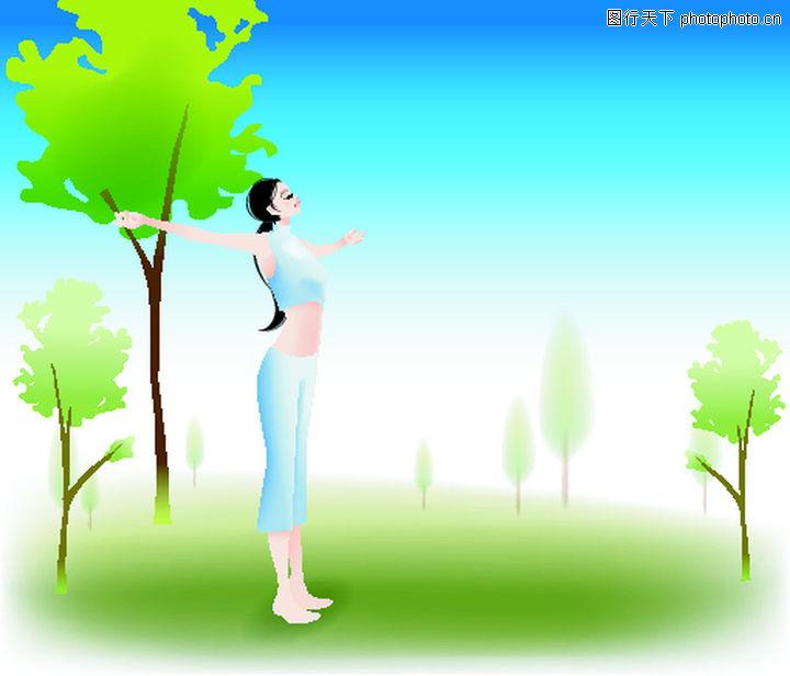 健身 卡通人物 踮脚 女人 扎辫子 美女 蓝天 伸开双臂 回归大自然