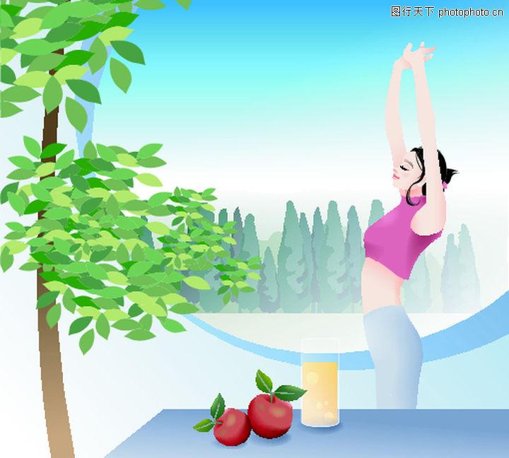 健身 卡通人物 锻炼 健身 水果