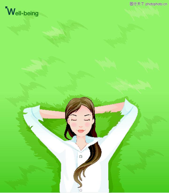 健身,卡通人物,躺着 草地 少女,健身0031