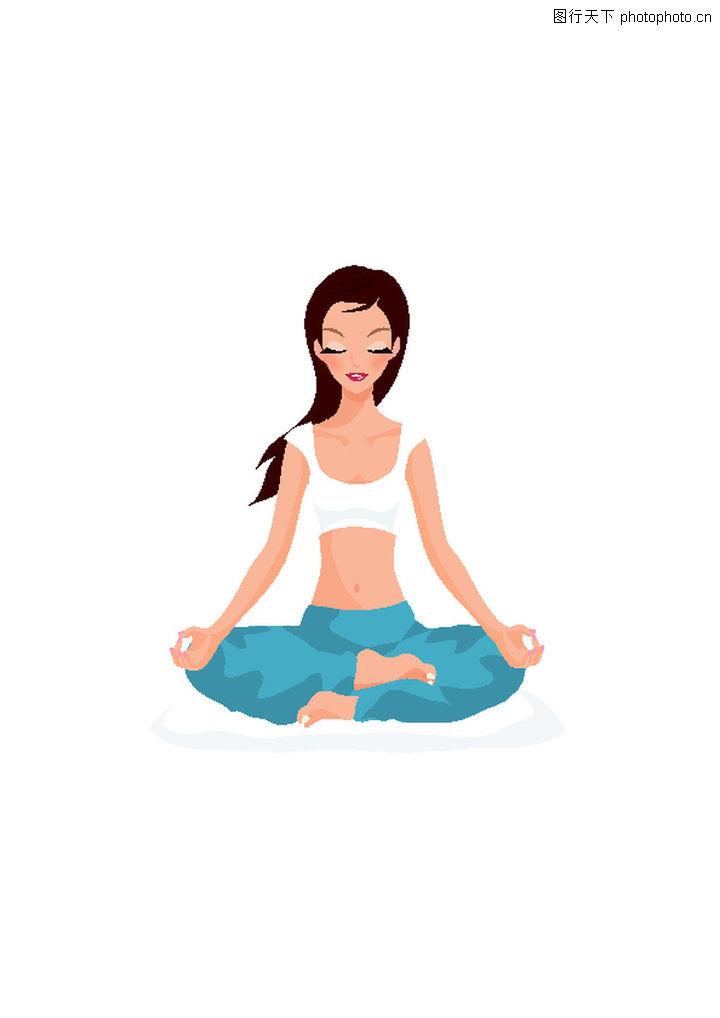 健身 卡通人物 做瑜伽 盘腿 闭目