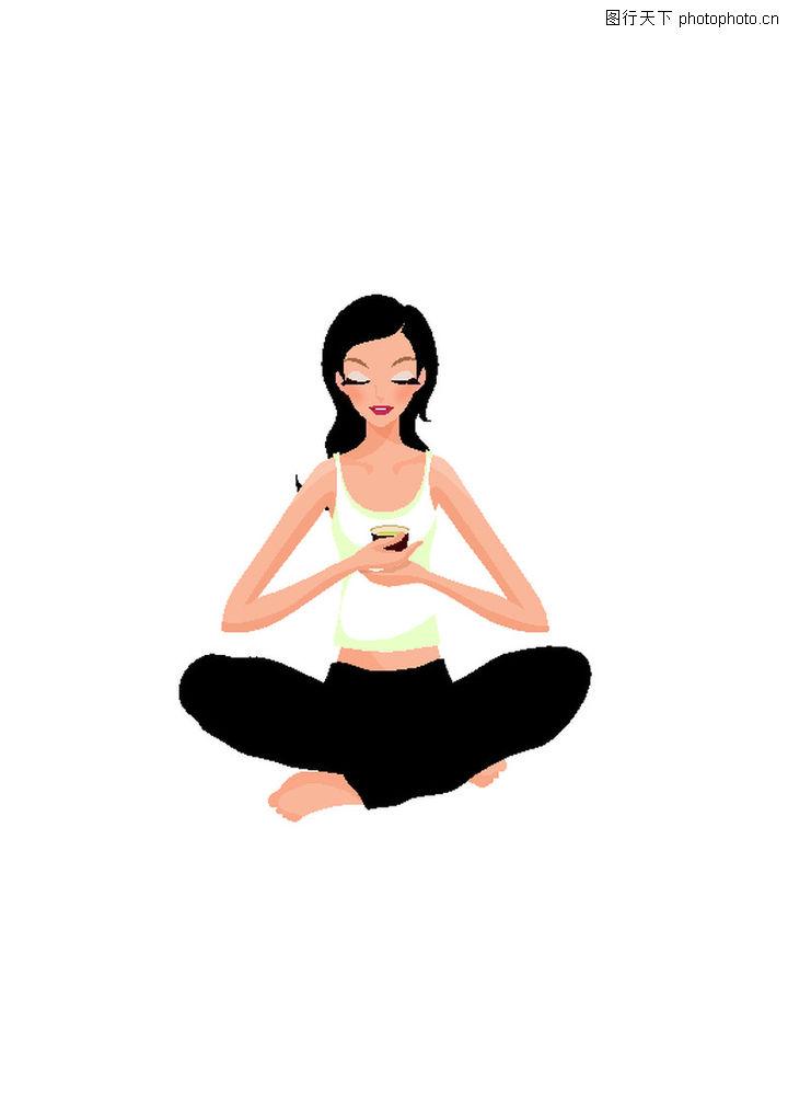 健身 卡通人物 人物插画 盘腿坐着 闭目冥想