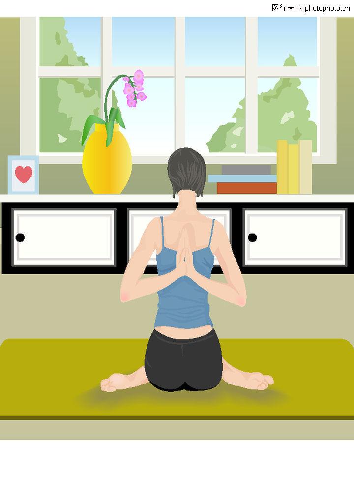 健身,卡通人物,瑜伽 标准