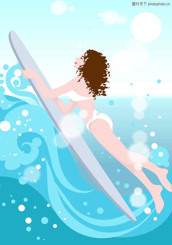 卡通人物,游泳