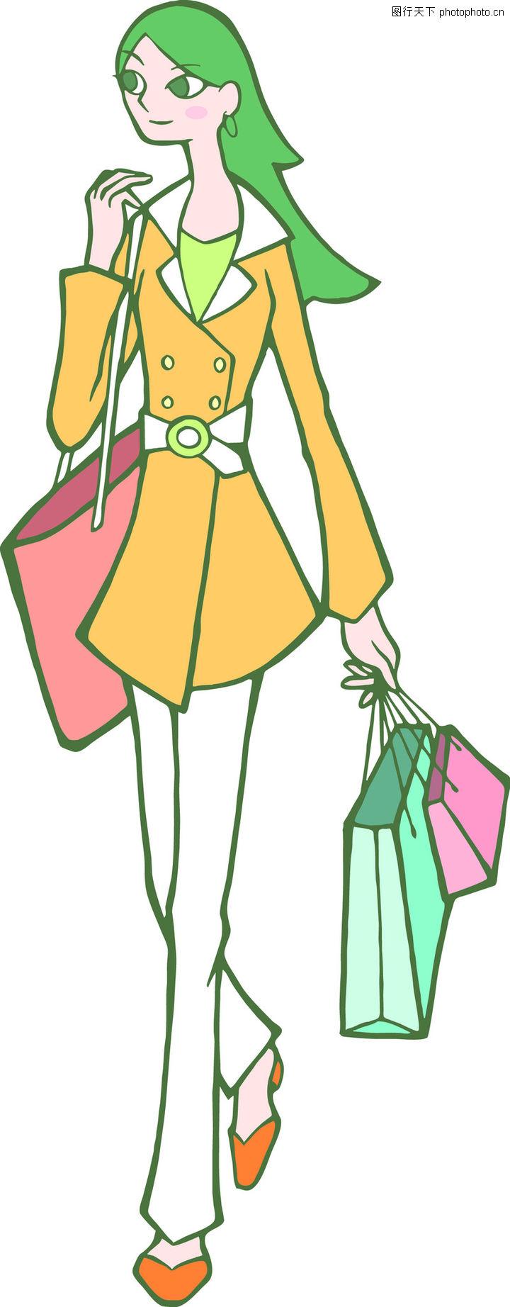 时尚女性,卡通人物,女性插画 绿色的头发,时尚女性0064