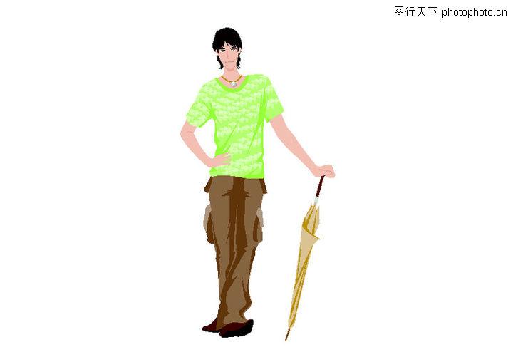 流行时男 卡通人物 雨伞 男生 休闲裤