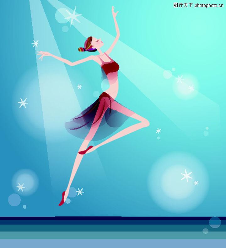 卡通人物,舞蹈 幽雅