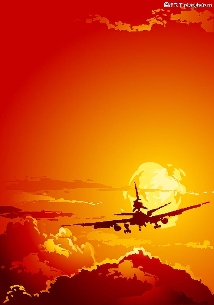 矢量背景素材,底纹,飞机 红霞,矢量背景素材0224