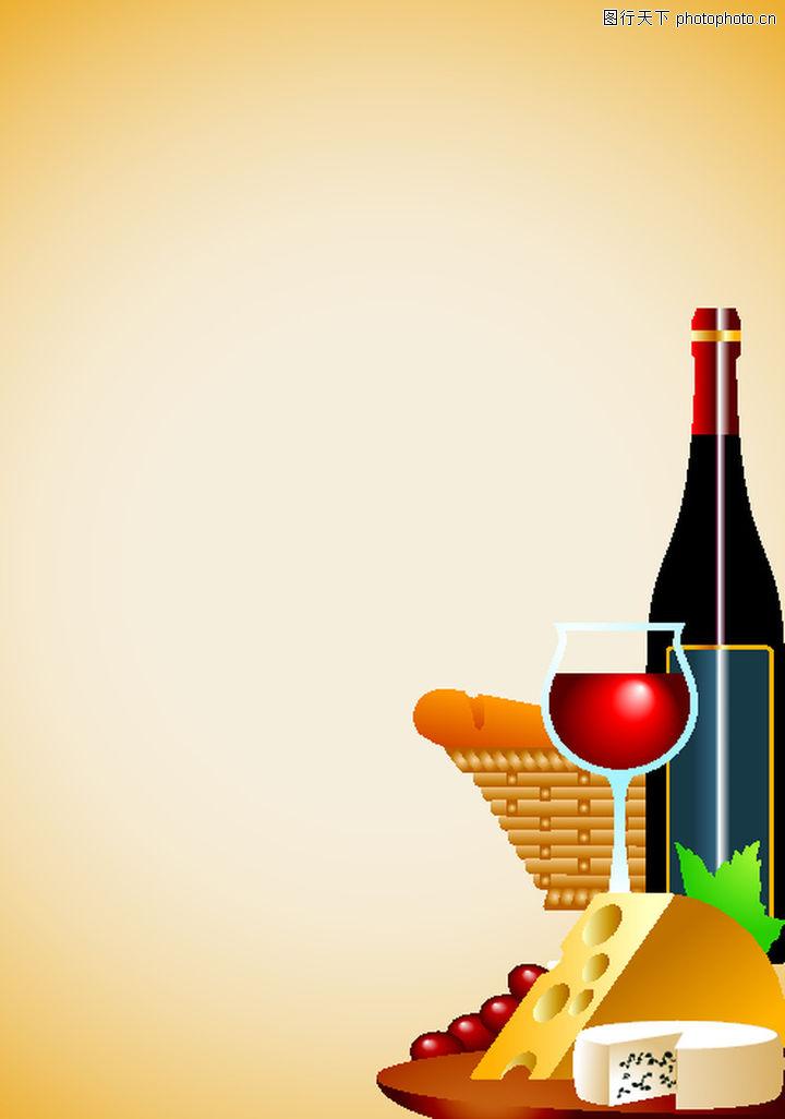 矢量背景素材 底纹 酒杯 食品 桌台