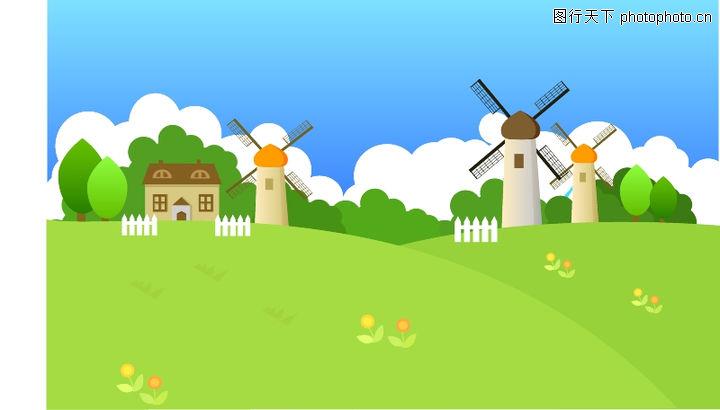 外界风景0003-外界风景图-时尚卡通图库-风车 荷兰 农场 风和日丽