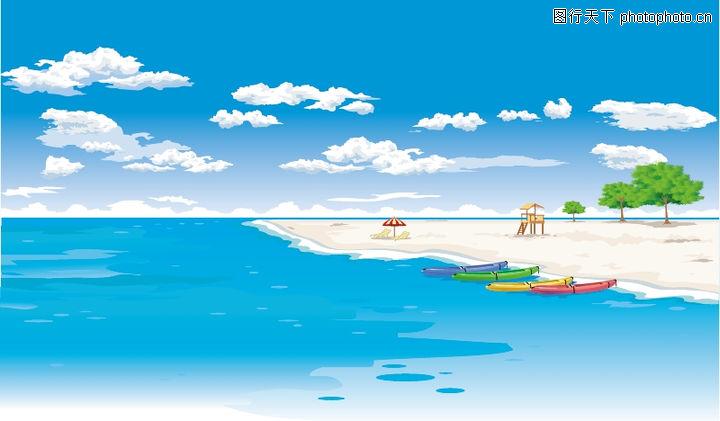 外界风景,时尚卡通,云朵 海滩 海水,外界风景0033