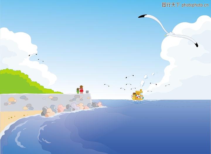 外界风景,时尚卡通,飞鸟 海边 蓝色的海,外界风景0151; 千图网免费