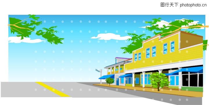 建筑风景 时尚卡通 街道 空阔 无人; 建筑风景; 街边建筑 - 素材公社