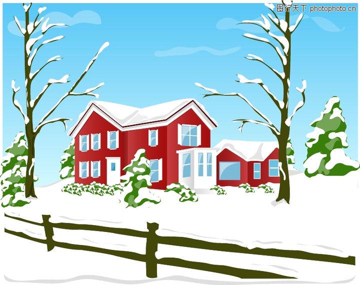 建筑风景,时尚卡通,雪地 房屋 栅栏,建筑风景0098