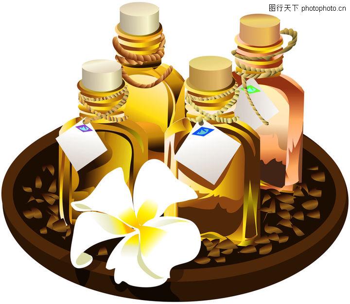 SPA插图,美容,瓶子 豆子 花朵,SPA插图0036
