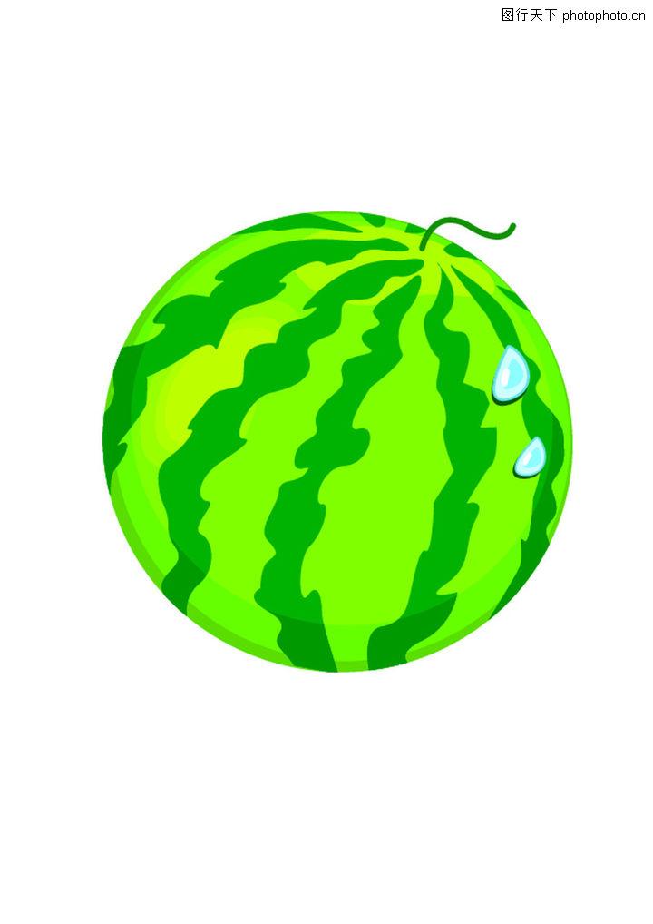 西瓜,饮食水果; 饮食水果 饮食 水果类 西瓜 斑纹; 水彩画 简笔画