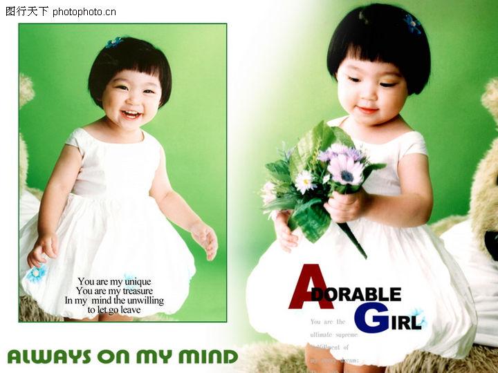 儿童写真模板 数码影楼平面模板 天真 花朵 女宝宝