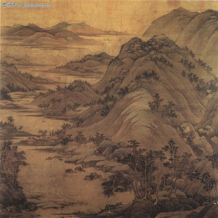 山水名画,中国传世名画,群山 自然 景色,1a0017笼袖骄民图